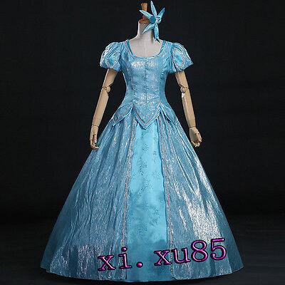 Fancy Princess Ariel Little Mermaid Blue Ball Gown Dress Cosplay Costume Custom  - Ariel Blue Dress Cosplay