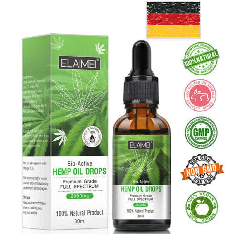 *30ML Bio Kräuter 2000mg Hanf Extrakt Öltropfen zur Schmerzlinderung Schlafmittel*