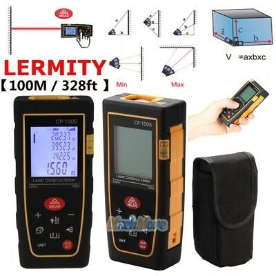100M / 328ft Digital LCD Laser Distance Meter Range Finder Measure Tape Tool USA