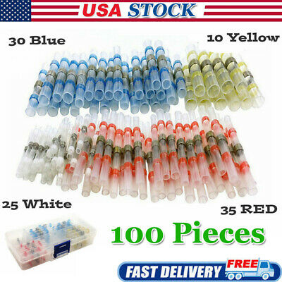10 100pcs Solder Sleeve Heat Shrink Waterproof 10-26 Awg Wire Splice Connector
