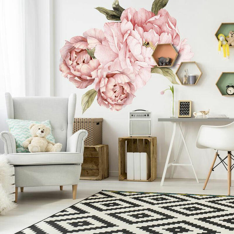 Giant Pink Peony Flower Wall Stickers Nursery Home Decor Kid Baby Decal Gift DIY