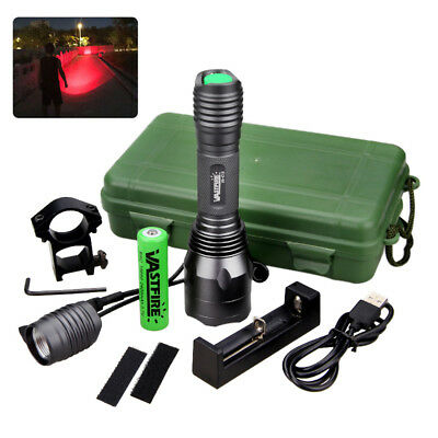 10000LM LED Red Flashlight 1 Mode Coon Hunting Light Night Switch Mount Lamp