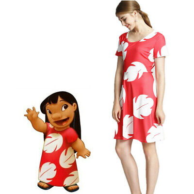 US STOCK Family Matching Womens Baby Girls Lilo and Stitch Cosplay Dress Costume