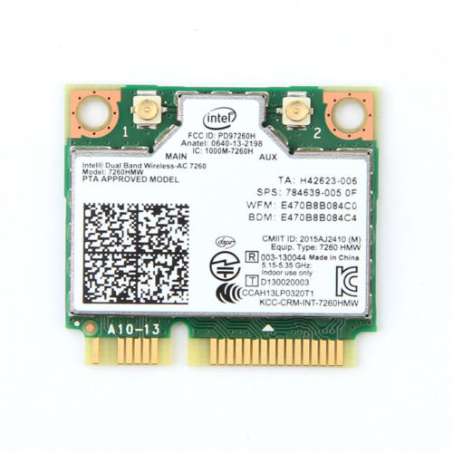 Wireless Intel 7260 7260HMW 802.11ac Dual Band BT4.0 PCI-E Mini Wifi Card