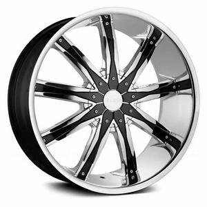 "24""CHROME WHEELS with LOW PRO TIRES!!! Full Set-Brand New!!"