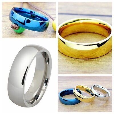 - 6mm Stainless Steel Rings Men/Women's Wedding Band Silver Gold Blue Size 5-14