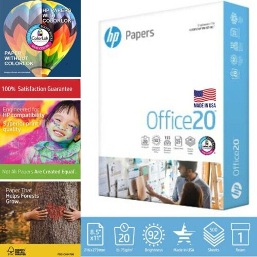 HP Printer Paper Home Office Copy Print Letter 20lb 500 Sheets 1 Ream 8.5x11 NEW