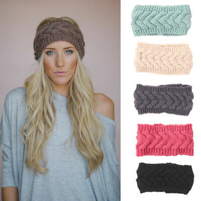 US Women's Knitted Ear Warmer Flower Headband Crochet Turban Winter Hair - Flower Crochet Headband