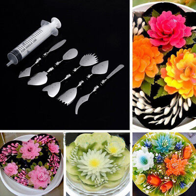 10 Art Pudding Flower Cake Decorating Mold Needle Gelatin Jello Jelly Tools Dt4