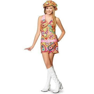 Paisley Groovy Hippie Costume Teen Junior S/M Leg Avenue Dress Cabbie Hat - Teen Hippie Costume