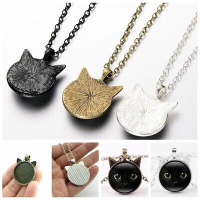 Vintage Black Cat Face Ear Eyes Round Glass Pendant Jewelry Charm Necklace (Cat Eye Glasses Round Face)