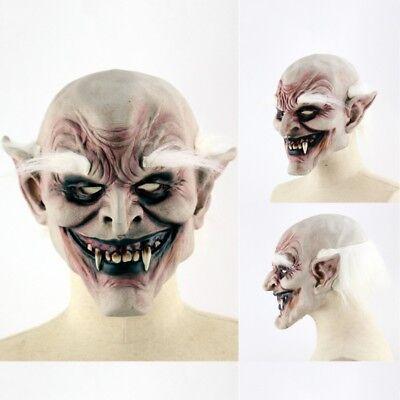 👻HALLOWEEN FULL HEAD SCARY MASK WHITE HAIR👻Vampire Party Creepy Spooky Prop👻