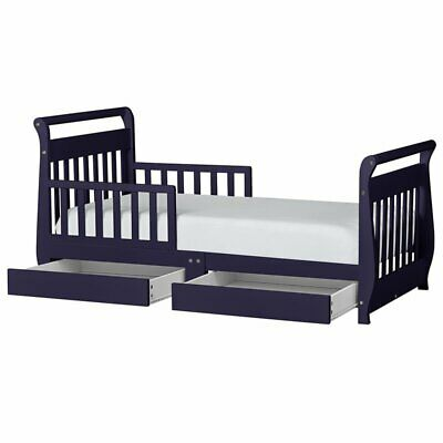 Dream On Me Sleigh Storage Toddler Bed in Navy