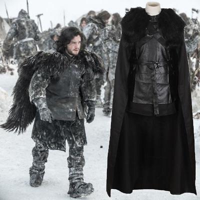 Schwarz Game of Thrones Jon Snow Cosplay Herren Kostüm Halloween Umhang Karneval