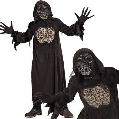 DÄMON ZOMBIE Skelett Kinder Kostüm Gr. 158 Robe m.Kapuze Handschuhe Maske #7848 (Zombie Robe Kostüme)