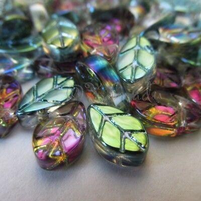 - Glass Leaves 11mm Green Aurora Borealis Leaf Beads G3307 - 20, 50 Or 100PCs