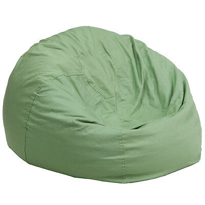 Large Comfy Bean Bag Chair in Solid Green Cotton Fabric - Oversized Bean Bag Cotton Comfy Bean Bag