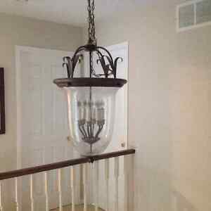 Matching Antique Bronze Chandelier and Ceiling Light for Sale