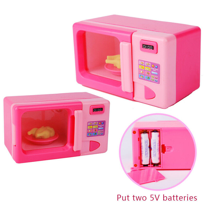 Mini Pink Microwave Oven Toys for Children Kitchen Pretend P