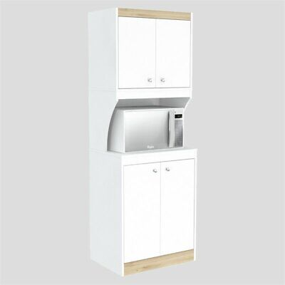 Inval GALLEY 4 Door Pantry with Microwave Storage in White and Oak