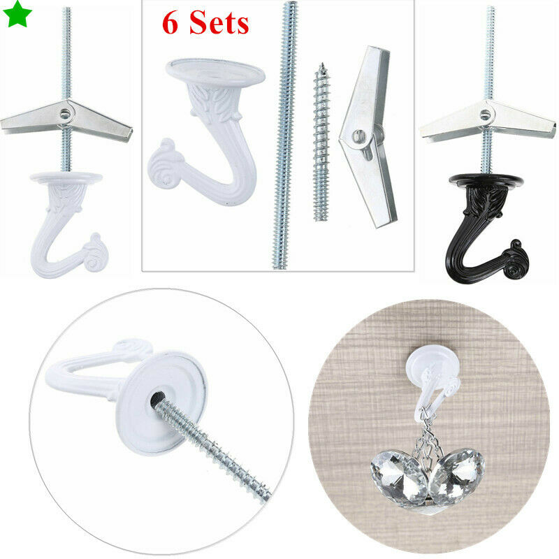 6 Heavy Duty Ceiling Swag Hooks Hanger w//Hardware Toggle Wings for Hanging Plant