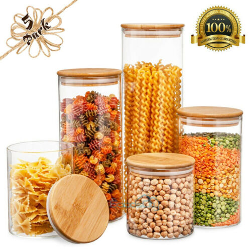 Large Glass Storage Jar With Airtight Bamboo Lid Tall Kitche