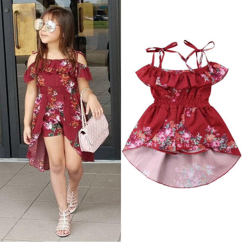 Newborn Toddler Baby Girls Off Shoulder Floral Dress Shorts Sling Ruffle Dresses