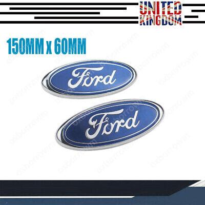FORD BADGE OVAL 150MM x 60MM BLUE/CHROME EMBLEM FRONT REAR FOCUS MONDEO TRANSIT