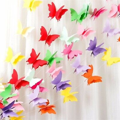 Birthday Banner - Butterfly Paper Garland Hanging Banner Wedding Party 3d Decor Birthday Baby