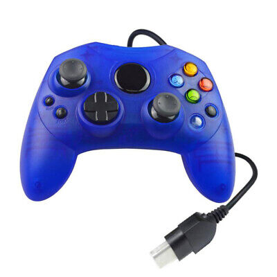XBOX MICROSOFT ORIGINAL WIRED CONTROLLER GAMEPAD 4.9 FT CABLE TRANSPARENT BLUE