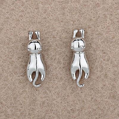 Women Jewelry Elegant 925 Sterling Silver Crystal Ear Stud Spark Cat Earrings
