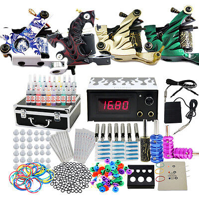 PRO New Tattoo Kit 4 Machine Guns Set Equipment Power Supply Inks Tools Needles on Rummage