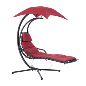 Swing Chair Outdoor Hanging Hammock Chaise Lounge w/ Stand