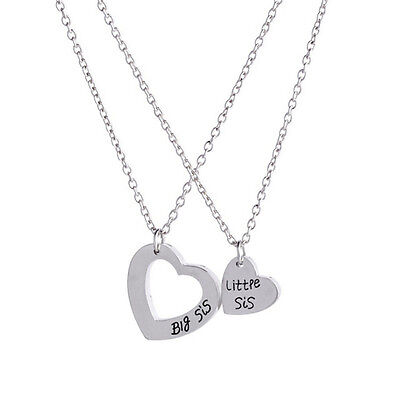 2Pcs Sister Necklace Matching  Little Sister Big Sister  Pendant Necklace Set  Z