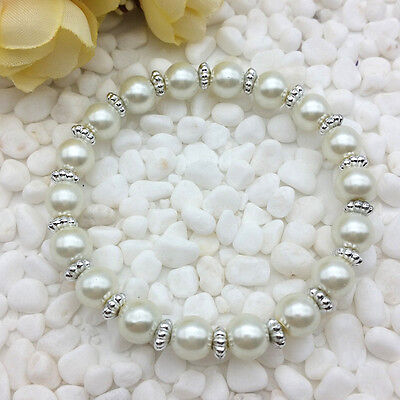 NEW Wholesale Fashion Jewelry 8mm Pearl White Water Pearl Beads Stretch Bracelet - Water Beads Wholesale