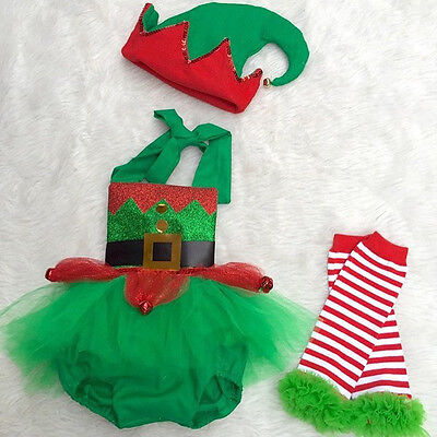 Christmas Elf Outfits (Christmas Baby Girl Elf Romper Tulle Dress Jumpsuit Leg Warmers Hat 3pcs)