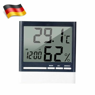Digital Temp Thermometer Hygrometer Humidity Luftfeuchtigkeitsmesser Uhr Alarm