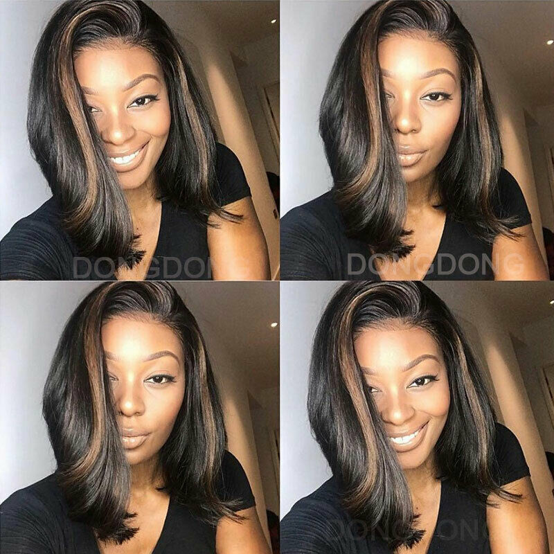 100 Indian Human Hair Wig Bob Straight Lace Front Wig Honey Blonde