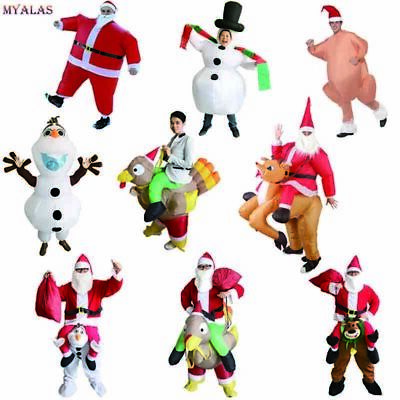 Inflatable Christmas Santa Claus Costume Riding a deer Adult for Cosplay Party](Deer Costumes For Adults)