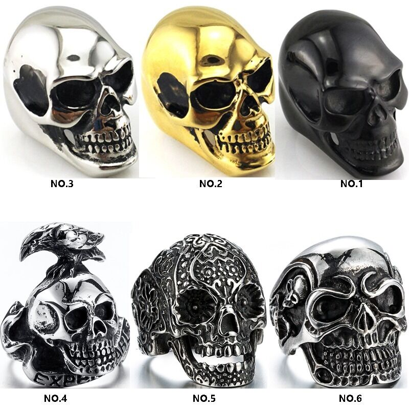 2fe2e08d89e Details about S 316L Stainless steel steam men punk ring gothic rings cool  skull Men s Jewelry