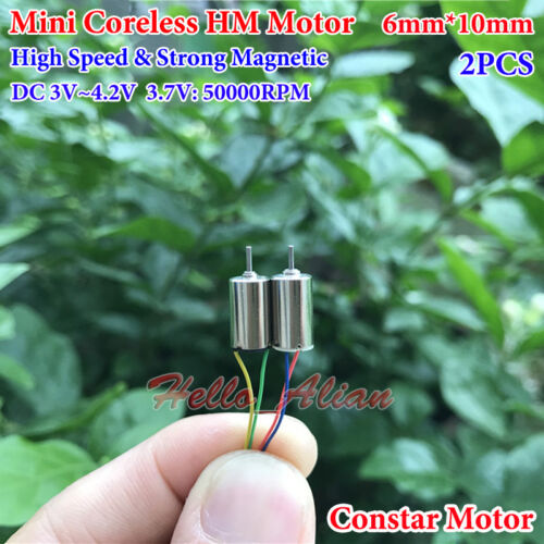 2PCS 6mm*15mm DC 4.2V 62000RPM High Speed Micro Mini Coreless Motor DIY RC Drone