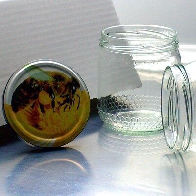 80 Honiggläser 500g / 425ml mit TO82 Deckel Biene - Kostenloser Versand