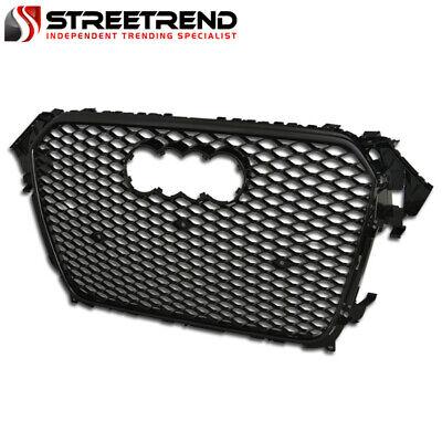 For 13-16 Audi A4 S4 RS Sport Hex Mesh Front Bumper Grille Emblem Base - Black