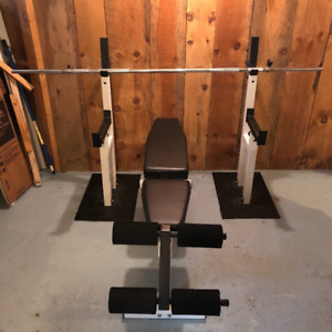 Dotmar Squat Stand Rack, Safety Spotters, Bench, Weights, Bar