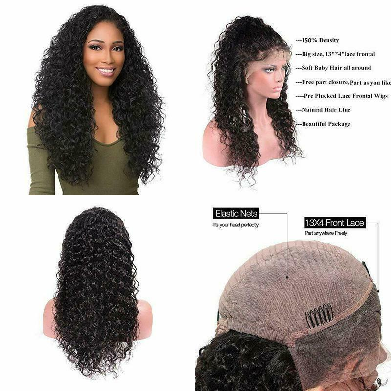 Peruvian Virgin Human Hair Lace Front Wigs Water Wave Gluele