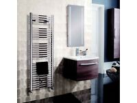 Bauhaus Design Chrome Towel Radiator 1420x500mm 1559BTU plus two sets of matching angled Valves