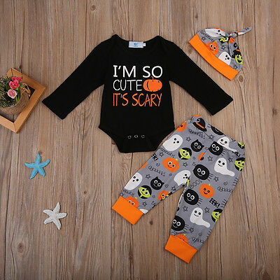 US Stock Halloween Toddler Baby Boys Romper Bodysuit Pants Hat Outfits Clothes - Halloween Toddler Clothes