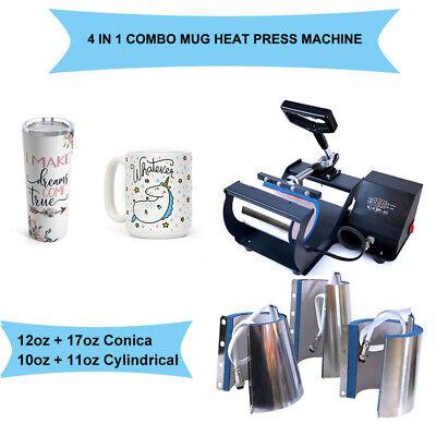 Mug Heat Press Machine Transfer Sublimation 4 In1 Diy 10oz -17oz Christmas Cup