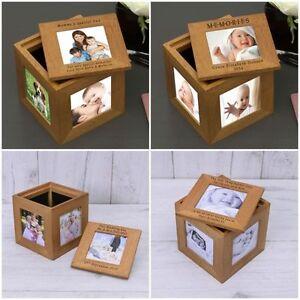 Oak Photo Keepsake Cube Box Personalised Engraved Picture Gift Album Any Message