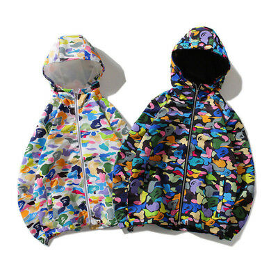 A Bathing Ape Candy-colored Monkey Head Camo Hoodies Lovers Windbreaker Jacket!